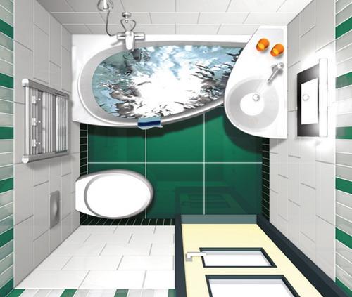 Интерьер маленькой ванной комнаты с